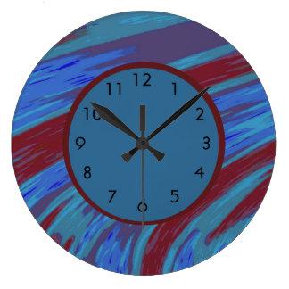 Grande Horloge Ronde Rouge bleu abstrait moderne audacieux