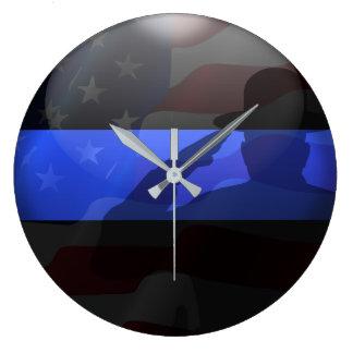 Grande Horloge Ronde Salut de drapeau mince de casquette de campagne de