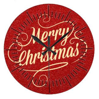 Grande Horloge Ronde Salutations rouges de Noël heureux de