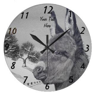 Grande Horloge Ronde Scène animale de neige d'âne d'art mignon de