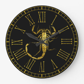 Grande Horloge Ronde Scorpion en or