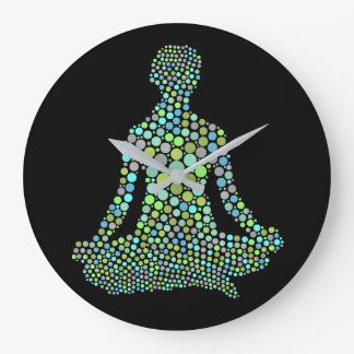 Grande Horloge Ronde Silhouette colorée de pose femelle de yoga
