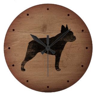 Grande Horloge Ronde Silhouette de Boston Terrier