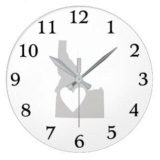 Grande Horloge Ronde Silhouette d'état de l'Idaho de coeur