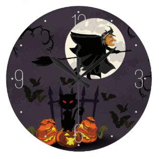 Grande Horloge Ronde Sorcière sur le manche à balai, chat noir,