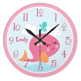 Grande Horloge Ronde Sous l'horloge du bébé de l'enfant de baleine de