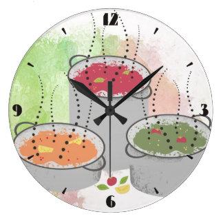Grande Horloge Ronde Style d'aquarelle cuisant l'horloge à la vapeur de