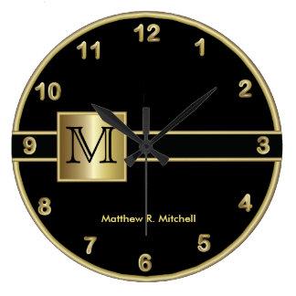 Grande Horloge Ronde Style d'exécutif de monogramme