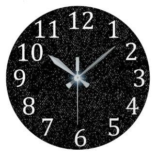 Grande Horloge Ronde Taches d'étoiles d'argent sur l'horloge blanche