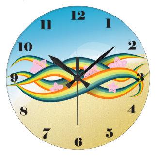 Grande Horloge Ronde Tentacules tropicales d'île d'été