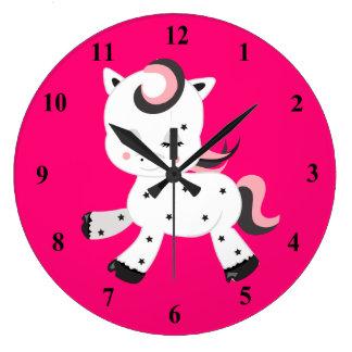 Grande Horloge Ronde Thème de poney de style de Kawaii