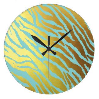 Grande Horloge Ronde Tigre d'or et d'Aqua barré