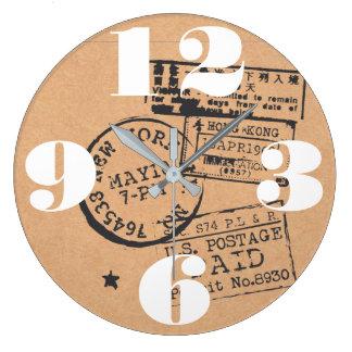 Grande Horloge Ronde Timbres-poste vintages de voyage
