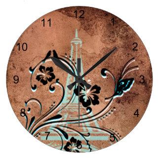 Grande Horloge Ronde Tour Eiffel floral