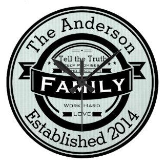Grande Horloge Ronde Tout rétro style de nom de famille personnalisé