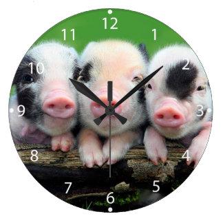 Grande Horloge Ronde Trois petits porcs - porc mignon - trois porcs