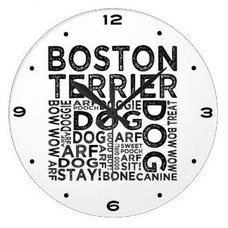 Grande Horloge Ronde Typographie de Boston Terrier