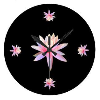 Grande Horloge Ronde Unique à la mode de beau de lis de Lotus cool rose