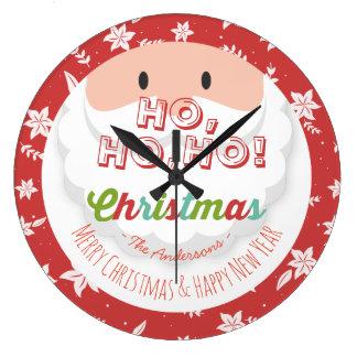 Grande Horloge Ronde Vacances de bonne année de Noël du père noël Ho Ho