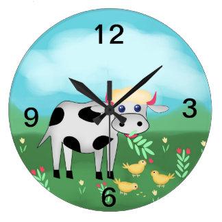 Grande Horloge Ronde Vache et poussins