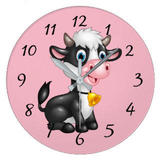 Grande Horloge Ronde Vache mignonne à bande dessinée