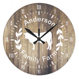 Grande Horloge Ronde Vache rustique et nom de famille à Taureau de