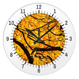 Grande Horloge Ronde Veines d'or d'automne