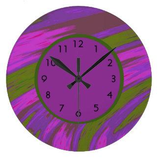 Grande Horloge Ronde Vert olive pourpre abstrait moderne audacieux