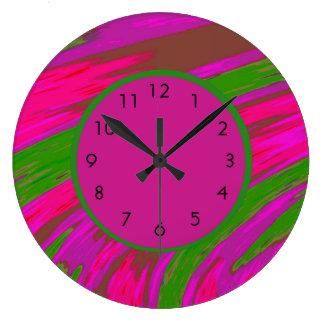 Grande Horloge Ronde Vert rose abstrait moderne audacieux