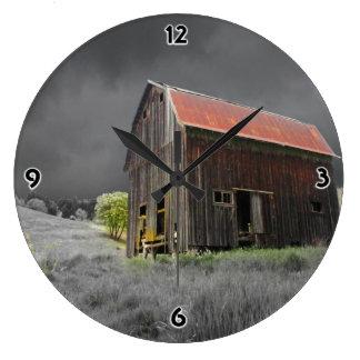 Grande Horloge Ronde Vieille photographie rustique de beaux-arts de