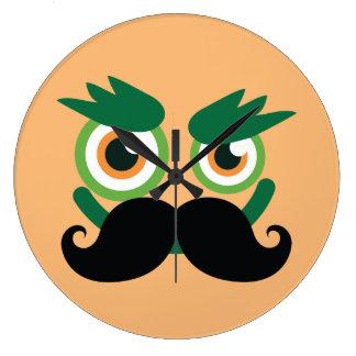Grande Horloge Ronde Visage drôle d'homme de grimace de moustache