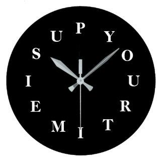 Grande Horloge Ronde Votre temps est en hausse l'horloge ronde noire