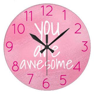 Grande Horloge Ronde Vous êtes ROSE positif frais impressionnant de