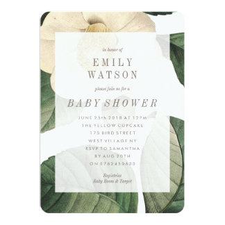 Grande invitation verte blanche de baby shower de