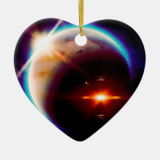 Grande planète rouge 2 ornement cœur en céramique