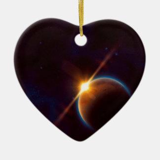 Grande planète rouge ornement cœur en céramique