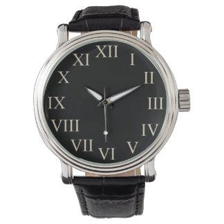 Grande rétro montre classique noire vintage