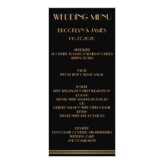 Grandes cartes de menu de mariage de Gatsby d'or Double Cartes Customisées