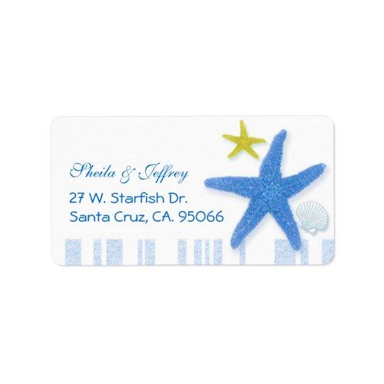 Grandes étoiles de mer bleues + Épouser de rayures Étiquettes D'adresse