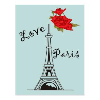 Graphique de Tour Eiffel de rose rouge Carte Postale