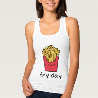 Grappige gelukkige de frietencartoon van de tanktop
