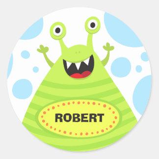 Grappige monster gepersonaliseerde naamstickers ronde sticker