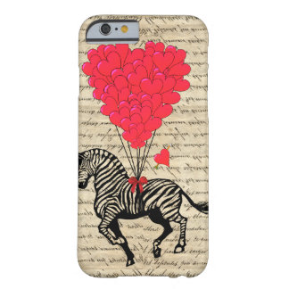 Grappige vintage zebra & hartballons barely there iPhone 6 hoesje