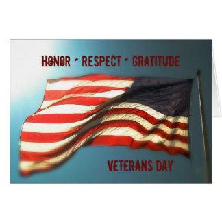 Carte Gratitude de respect d'honneur - carte de vétérans