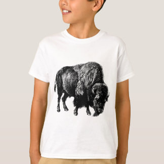 Gravure du bois vintage de bison américain de t-shirt