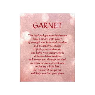 Grenat - toile d'art de poème de pierre