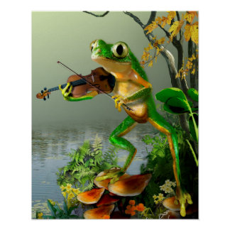 Grenouille d'arbre humoristique jouant un violon