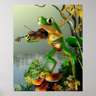 Grenouille d'arbre humoristique jouant un violon poster
