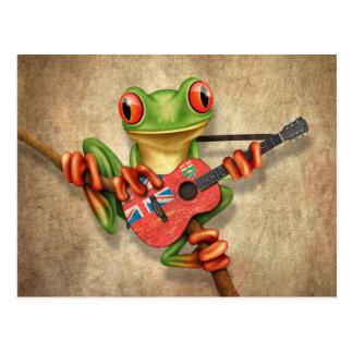 Grenouille d'arbre jouant la guitare de drapeau de carte postale
