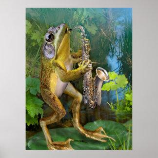 Grenouille humoristique maniant le saxophone poster
